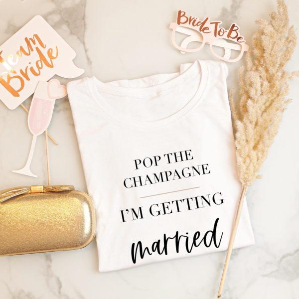 "Damen T-Shirt ""Pop the champagne"""