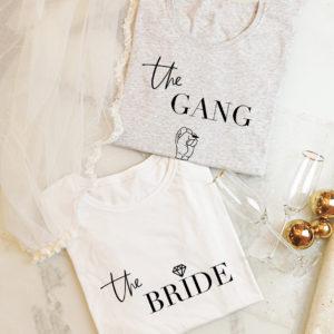 "Damen T-Shirt JGA Set ""The Bride+The Gang"""