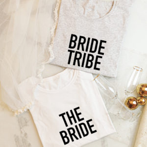 "Damen T-Shirt JGA Set ""The bride+Bride tribe"""